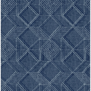 Picture of Moki Blue Lattice Geometric Wallpaper