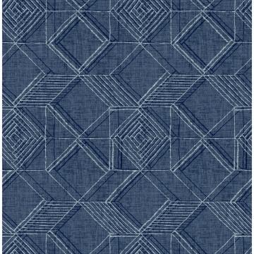 Picture of Moki Blue Lattice Geometric Wallpaper