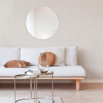 Picture of Moki Off-White Lattice Geometric Wallpaper