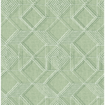 Picture of Moki Green Lattice Geometric Wallpaper