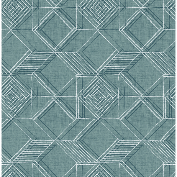 Picture of Moki Teal Lattice Geometric Wallpaper