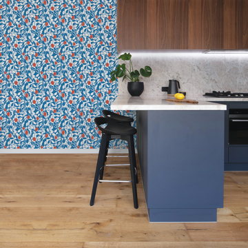 Picture of Loretto Blue Citrus Wallpaper