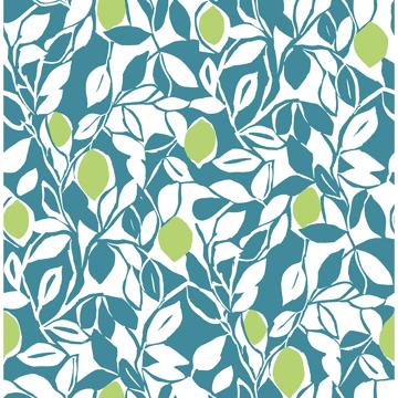 Picture of Loretto Teal Citrus Wallpaper