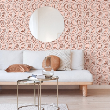 Picture of Zamora Coral Brushstrokes Wallpaper