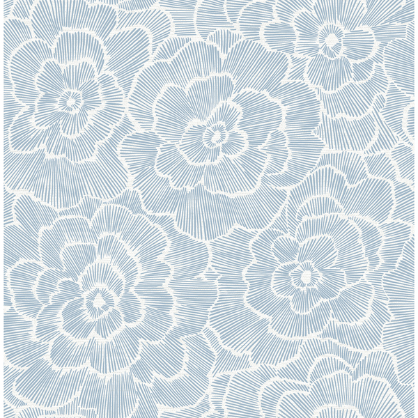 Picture of Periwinkle Blue Textured Floral Wallpaper