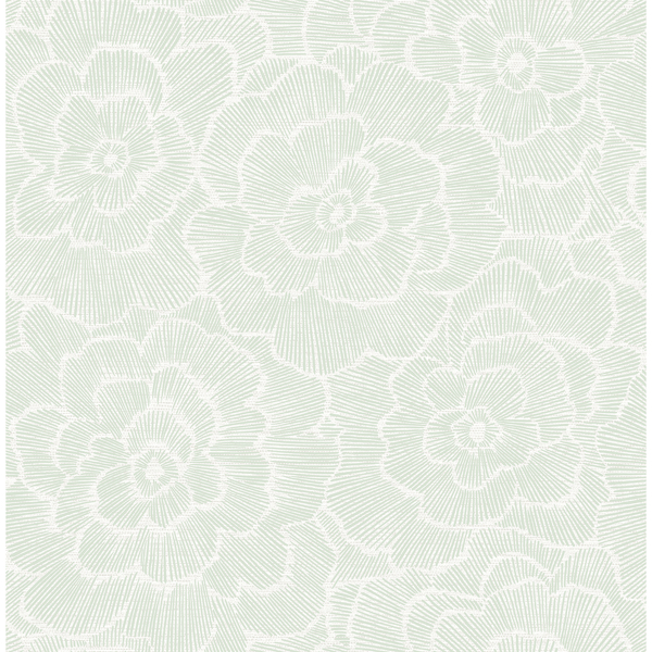 Picture of Periwinkle Green Textured Floral Wallpaper