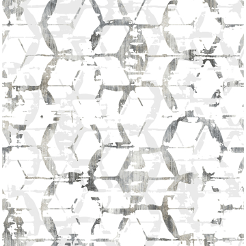 Picture of Augustine Black Distressed Geometric Wallpaper