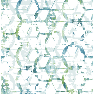 Picture of Augustine Blue Distressed Geometric Wallpaper