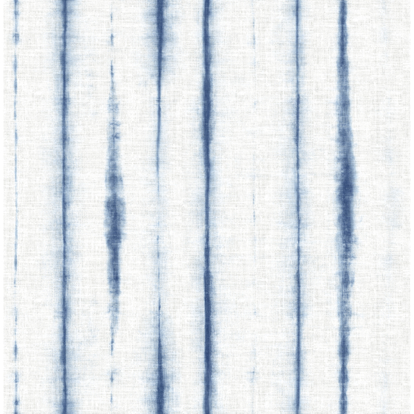 Picture of Orleans Blue Shibori Faux Linen Wallpaper