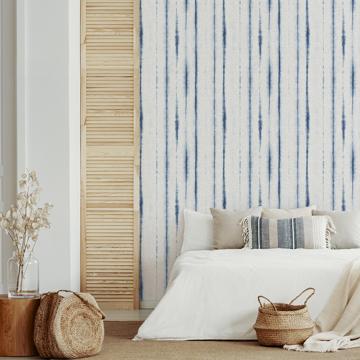 Picture of Orleans Blue Shibori Faux Linen Wallpaper