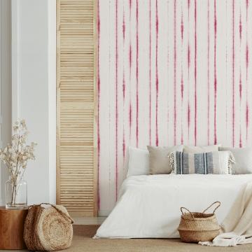 Picture of Orleans Pink Shibori Faux Linen Wallpaper