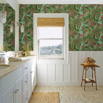 Picture of Alfresco Coral Tropical Palm Wallpaper