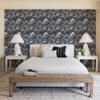 Picture of CABARITA Indigo Art Deco Leaves Wallpaper