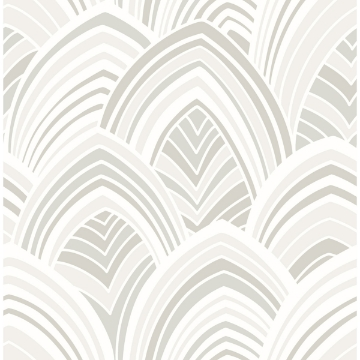 Picture of CABARITA White Art Deco Leaves Wallpaper