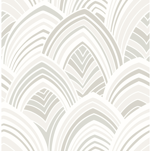 Picture of CABARITA White Art Deco Leaves Wallpaper