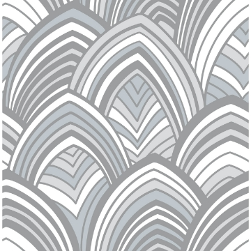 Picture of CABARITA Grey Art Deco Leaves Wallpaper
