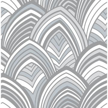 Picture of CABARITA Grey Art Deco Leaves Wallpaper