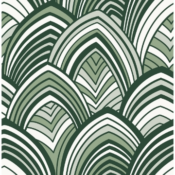 Picture of CABARITA Green Art Deco Leaves Wallpaper