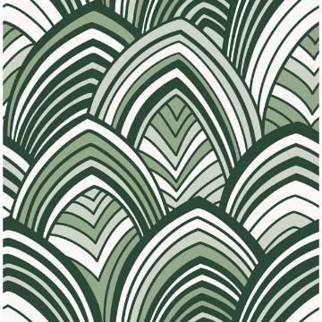 Picture of CABARITA Green Art Deco Leaves Wallpaper