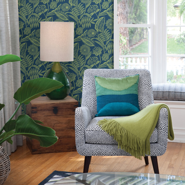Picture of Alma Blue Tropical Floral Wallpaper