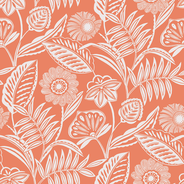 Picture of Alma Coral Tropical Floral Wallpaper