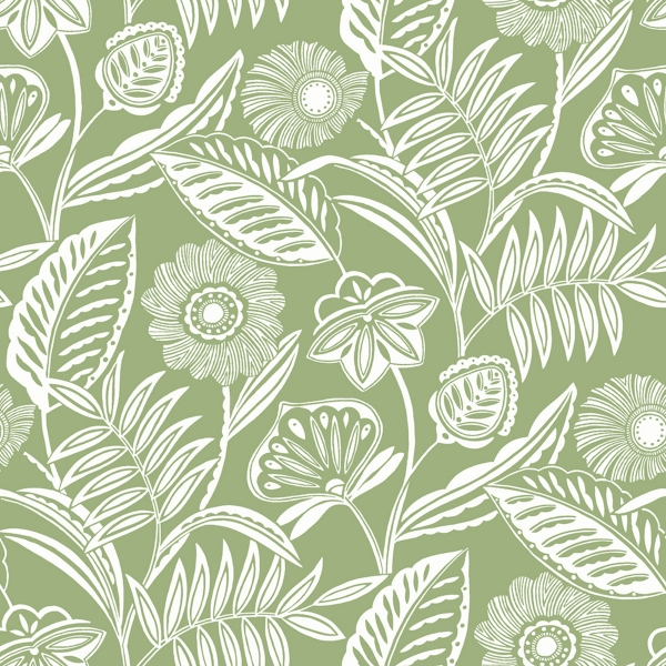 Picture of Alma Green Tropical Floral Wallpaper