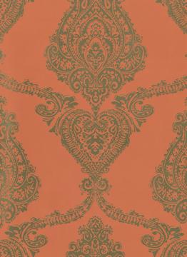 Picture of Gwenivere Orange Damask Wallpaper