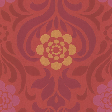 Picture of Abagail Red Floral Medallion Wallpaper