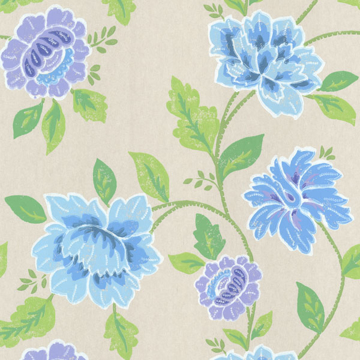 Picture of Evelynn Blue Painted Floral Wallpaper