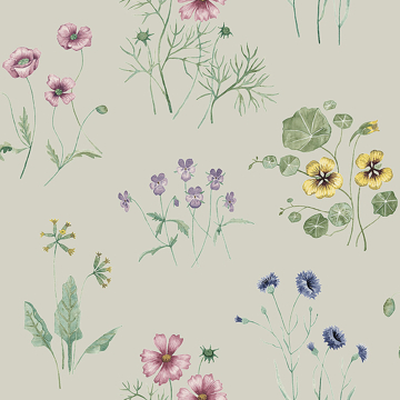 Picture of Maj Grey Wildflower Wallpaper