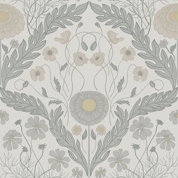 Picture of Marguerite Grey Damask Wallpaper