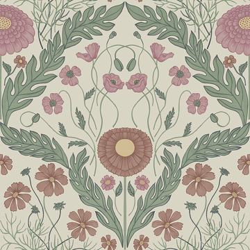Picture of Marguerite Multicolor Damask Wallpaper