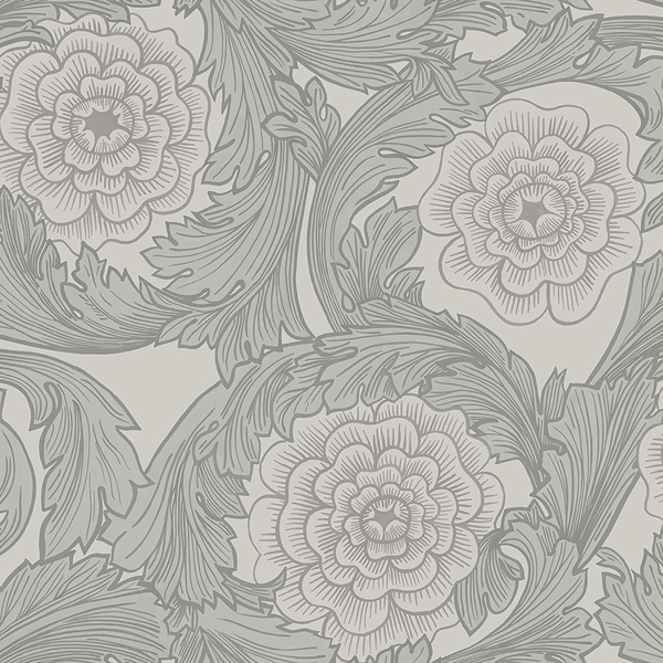 Picture of Rosa Grey Ornamental Florals Wallpaper