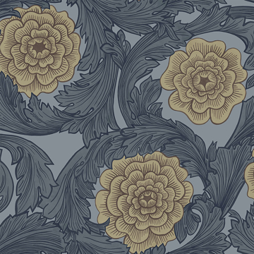 Picture of Rosa Blue Ornamental Florals Wallpaper
