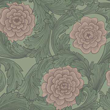 Picture of Rosa Green Ornamental Florals Wallpaper