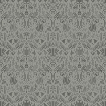 Picture of Ludvig Dark Grey Floral Ogee Wallpaper