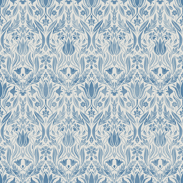 Picture of Ludvig Blue Floral Ogee Wallpaper