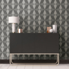 Picture of Valiant Grey Faux Grasscloth Mosaic Wallpaper