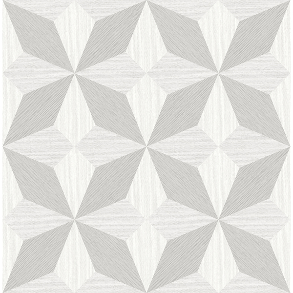 Picture of Valiant Light Grey Faux Grasscloth Mosaic Wallpaper