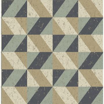 Picture of Cerium Blue Concrete Geometric Wallpaper