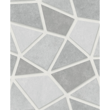 Picture of Coty Silver Geometric Patchwork Wallpaper