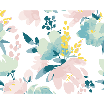 Picture of Delicate Watercolour Flowers Wall Mural