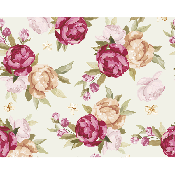 Picture of Beautiful Colour Peony Pattern Wall Mural