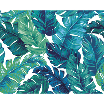 Picture of Turquoise and Green Tropical Leaves Wall Mural