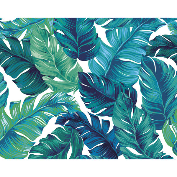 Wals0429 Turquoise And Green Tropical Leaves Wall Mural By Ohpopsi 4.peel and stick can only use to glass surface, painted wall, ceramic surface, wood surface, plastic plate surface… turquoise and green tropical leaves wall mural