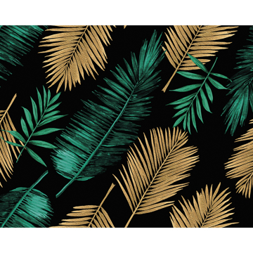 Picture of Emerald Green and Gold Palm Leaves Wall Mural