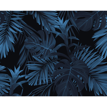 Picture of Indigo Tropical Pattern Wall Mural