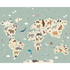 Picture of Illustration of a Children's World Map Wall Mural