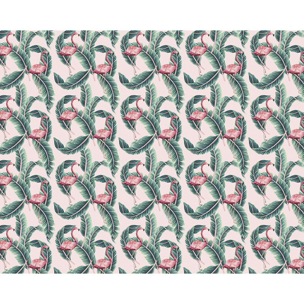 Picture of Flamingo Leaf Repeat Wall Mural