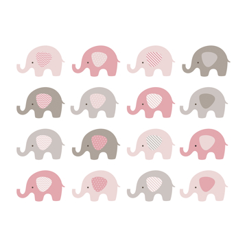 Picture of Baby Pink Elephant Wall Mural